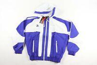 Vintage 90s New Mitre Mens Medium Spell Out Hooded Full Zip Soccer Jacket Blue