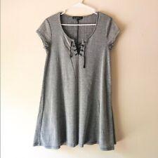 Derek Heart Lace Up Grey Dress Size Large