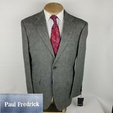 New Paul Fredrick Mens Sport Coat 44R Gray Camel Hair Blazer 2 Button