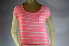 ROXY WOMEN'S SCOOP-NECK SWEATER KNIT TOP PINK/CORAL STRIPE size Small