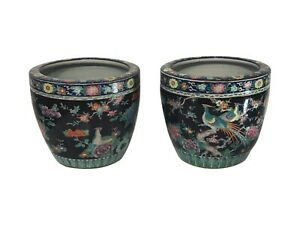 Pair of Chinese Porcelain Famile Verte Cache Pots, 20th C