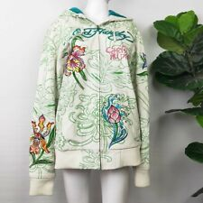 Ed Hardy Leather Lotus And Tiger Embroidered Jacket (XL)