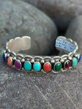 Exquisite Multiple Colored Stones Native American Bangle Signed Felix Joe VTG