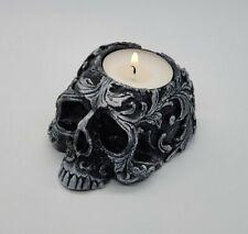 1 x Skull Tealight Goth Halloween Candle Tea Light Holder Gift Ornament Baroque