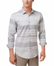 Alfani Men's Mayvis Striped Cotton Shirt, Active Steel, Size XXL, MSRP $55