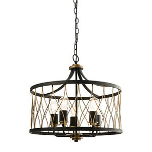 Modern Rustic Bronze & Matt Black 5 Light Pendant