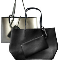 Einkaufsbeutel Shopper Damentasche Clutch Tote Bag Kunstledertasche Silber