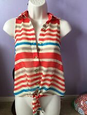 Papaya Red Blue Sleeveless Top blouse collared buttoned shirt Size Small Women's