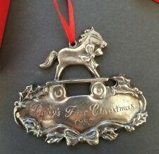 Gorham BABYS 1ST First CHRISTMAS STERLING SILVER ORNAMENT 1995 Rocking Horse