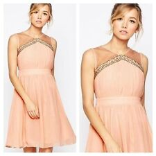 Little Mistress Sz 14 Simply Gorgeous Peach Embellished Skater DRESS Occasion Be