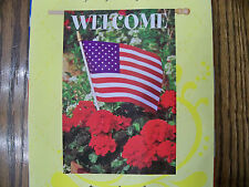 Welcome Patriotic Geranium in Flowerpot Garden Large Double sided (words) Flag