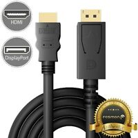 6FT Display Port to HDMI Cable Cord DP to HDMI Adapter Gold Plated [UL Listed]