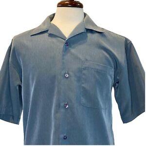 Outlooks Mens Small Blue Short Sleeve Button Down Shirt