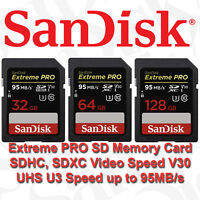 SanDisk Extreme PRO 32GB 64GB 128GB 256GB SD Memory Card Video Camera DSLR U3 HD