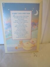 1984 Hallmark Plaque Vintage A Baby Lives Here Now Pale blues and pinks