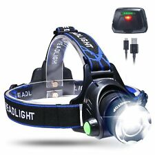 KINGTOP USB Rechargeable LED Zoomable Head Light Torch Lamp with Rechargeable In