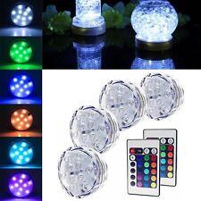 10 LED Multi Color RGB Submersible Party Vase Base Light Remote Control