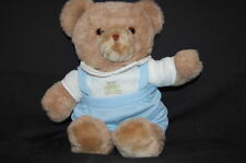 "Teddy Bear Tan Brown Blue Baby Coveralls 15"" Plush Stuffed Animal Lovey Toy"