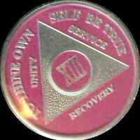 Pink & Silver Plated 13 Year AA Chip Alcoholics Anonymous Medallion Coin