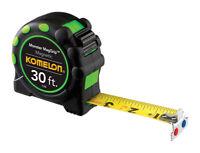 Komelon  Magnetic  30 ft. L x 1 in. W Tape Measure  Black  1 pk