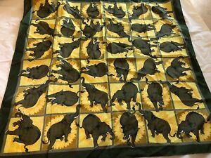 "Thai SHINAWATRA Thailand Elephants green gold Scarf 35""X 34"" square Face mask"
