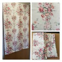 "Vintage Pink Roses Design Curtains 66"" Width 53"" Drop Fabric Floral Horrockses"