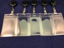 Retractable Card Holder Reel ID Key Belt Clip - Soft Plastic ID Holder x 5