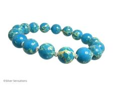 Aqua Blue & Cream Sea Sediment Impression Jasper Bracelet With Sterling Silver