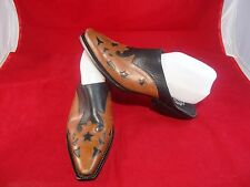 Charlie 1 Horse Western Black & Brown Leather Slip On Shoes WOMEN'S Sz. 9B EUC