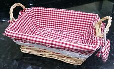 Red Gingham Wicker Basket Lined Heart Valentines Day Hamper Present Gift Mothers