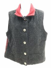 Country Clothing Equestrian Button Up Vest Women's Large Regular Gray Unique
