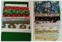 Set of 12 Christmas FAT QUARTERS Fabric for Crafts Quilting 100% Cotton