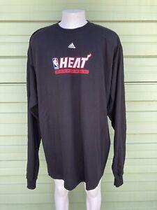 NBA MIAMI HEAT ADIDAS MEN WARM UP BLACK SWEATSHIRT LONG SLEEVE size 3XL #5025