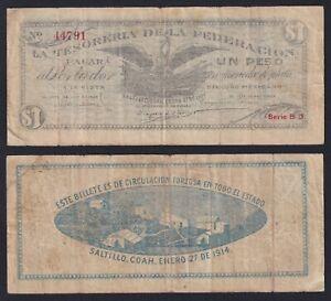 Saltillo Mexico 1 peso 1914 BB-/VF-  A-10