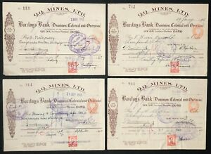 "Southern Rhodesia 1940-42 KGVI ""Q.Q. Mines, LTD"" Revenue Cheques x 4 Bearing 1d"