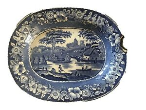 Antique Blue Transferware Wild Rose Nuneham Courtesy Oval Plate Platter