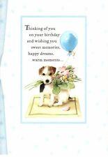 Happy Birthday Blue Balloon & Bouquet Saar Dog Marjolein Bastin Hallmark Card