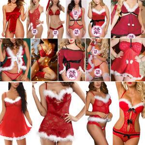Women Christmas Sexy Babydoll Dress Ladies Sleepwear Lingerie Xmas Nightwear Red
