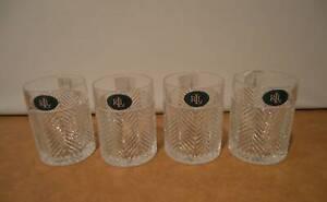 Set Of 4 NEW Ralph Lauren Herringbone Crystal Double Old Fashioned Rock Tumblers