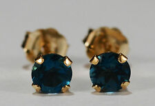 BEENJEWELED GENUINE NATURAL MINED LONDON BLUE TOPAZ EARRINGS~14 KT YEL GOLD~4MM
