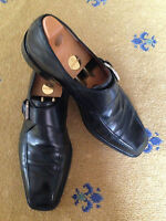 FRATELLI ROSSETTI MEN'S SHOES BLACK LEATHER MONK BUCKLE LOAFERS UK 11 US 12 45