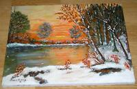 VINTAGE FOLK ART PRIMITIVE ORANGE DUSK SUNSET WINTER LANDSCAPE POND OIL PAINTING