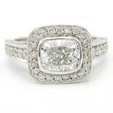 CUSHION CUT BEZEL SET ANTIQUE STYLE PAVE DIAMOND ENGAGEMENT RING C31