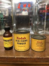 Vintage Kodak Camera Can / Bottle Lot Film Cement Acid Fixing Powder Brownie