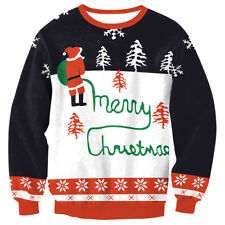 New Unisex Mens Womens Santa Xmas Christmas Novelty Ugly RED Tops Jumper Sweater