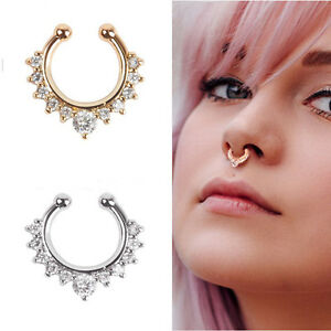 USA-Hope Nose Ring Clip-on  Fake Septum Clicker Non-Piercing  Hanger for Jewelry