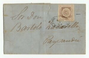 Uruguay cover 13b Montevideo to Paysandu 4 -3-1859 signed Ciardi
