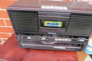 VINTAGE NATIONAL SG-J555 CASSETTE TAPE DECK RADIO AM FM RECORD TURNTABLE PLAYER