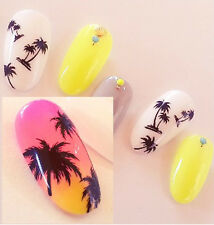 Black Coconut Palm Tree Flowers Water Transfer Nail Art Sticker Decal Decoration