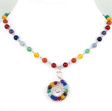 Gemstone Chain NECKLACE, Silver Plated Spiral Pendant, 7 Chakra Reiki Multicolor